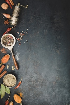 Épices et moulin à poivre vintage sur fond de béton noir