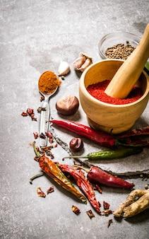 Épices - poivron rouge moulu, ail et coriandre. sur la table en pierre.