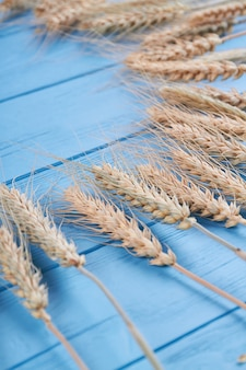 Épillets de blé sur fond de table en bois ancien bleu