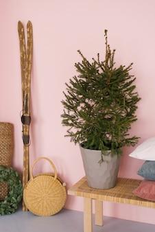 Épinette fraîche dans un seau en métal à l'intérieur de la maison sur un banc, skis en bois dans le couloir