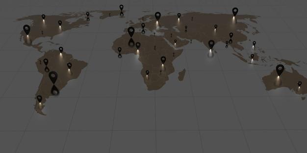Épingler sur la carte du monde tons sombres et épingles lumineuses communication d'entreprise mondiale illustration 3d