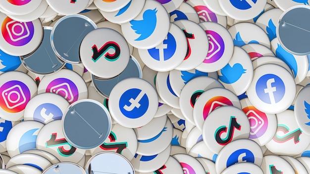 Épingles bouton arrière plan icônes social