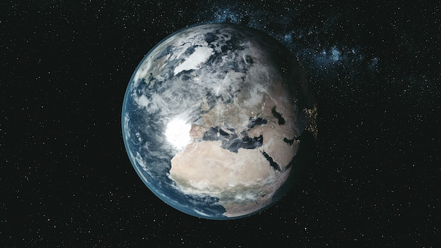 Épique spin planète terre galaxie nuit vue satellite