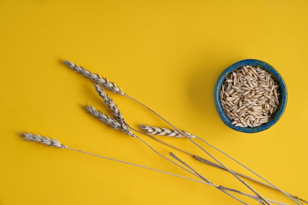 Épis de blé et de céréales dans une assiette ronde