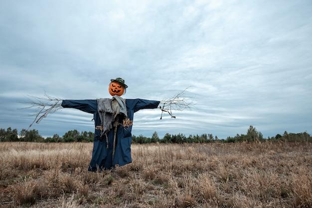 Un épouvantail effrayant avec une tête de citrouille d'halloween dans un champ par temps nuageux.