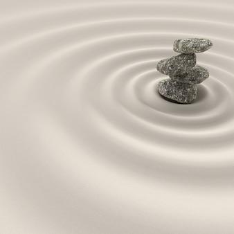Equilibre dans le jardin de méditation zen, relaxation et simplicité pour la concentration.