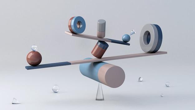 Equilibrium still life installation, équilibrant les formes géométriques. illustration abstraite, rendu 3d.