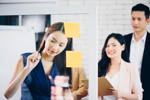 Équipe des activités avec flip board in office discuter
