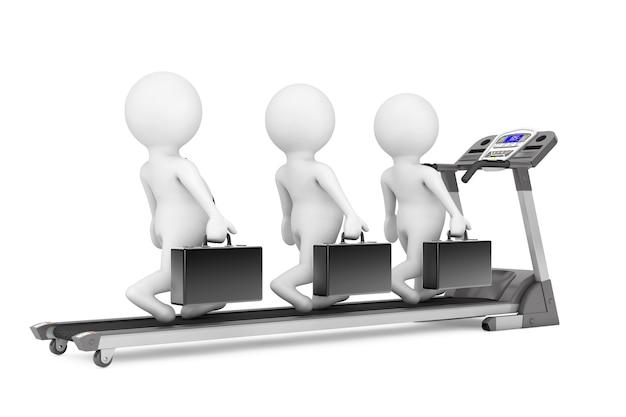 L'équipe d'affaires 3d sur tapis roulant sur fond blanc. rendu 3d