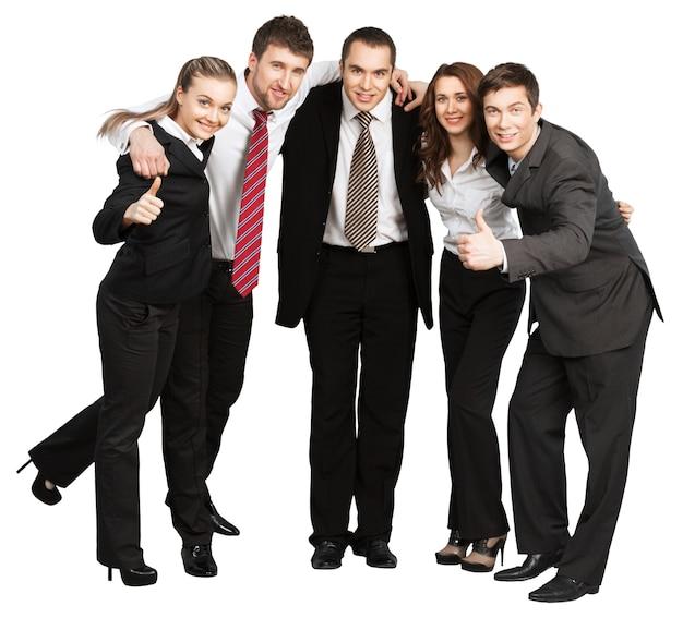 Équipe d'affaires confiant isolé sur fond blanc