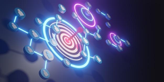 Équipe commerciale avec des flèches rouges atteignant la cible centrale. concept d'entreprise de réussite. rendu 3d