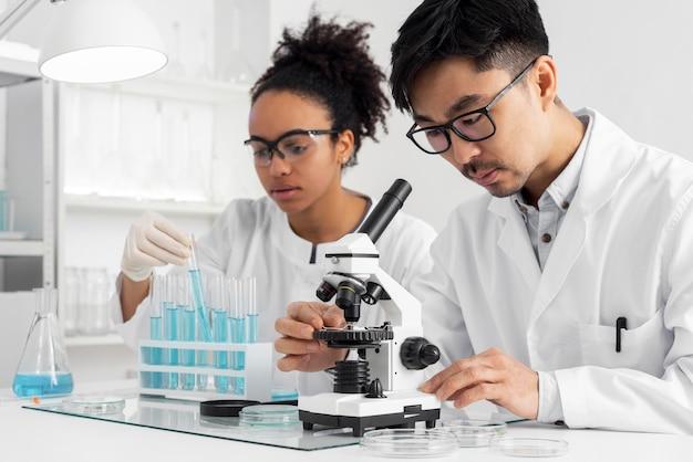 Équipe de laboratoire travaillant ensemble