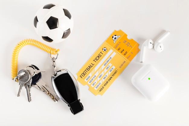 Équipement de billet de football et d'arbitre