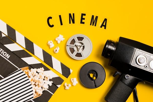 Équipement de cinéma vue de dessus