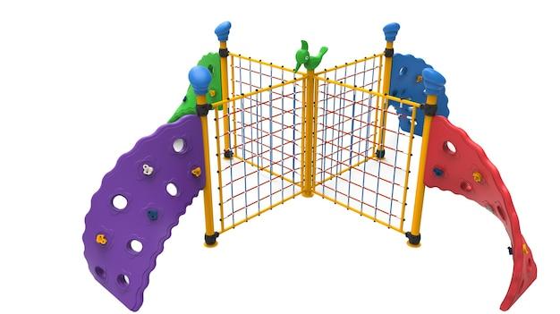 Équipement d'escalade de corde quadruple de parc de jeux réaliste 3d pour les enfants isolés sur fond blanc