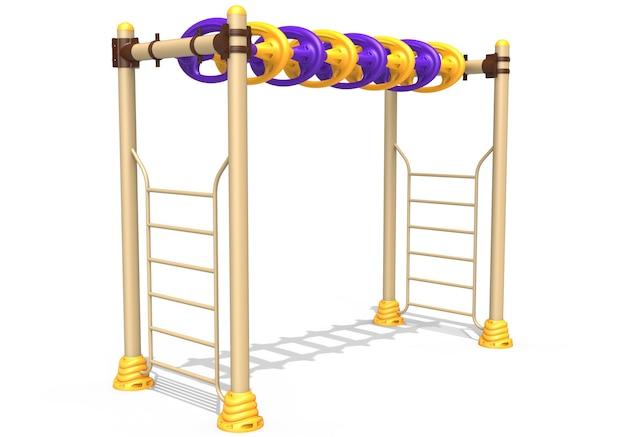 Équipement d'escalade de pullup de parc de jeux réaliste 3d pour les enfants isolés sur fond blanc