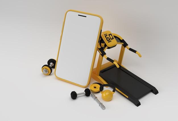 Équipement de gym moderne avec rendu 3d de maquette mobile vide.