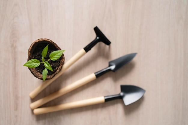 Équipement de jardinage vue de dessus