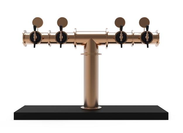 Équipement pour bar 3d illustration isolé sur blanc rendu de la tour de la pompe à bière en bronze métallique
