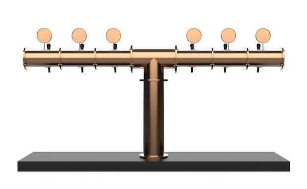 Équipement pour bar 3d illustration isolé sur fond blanc tour de pompe à bière métallique