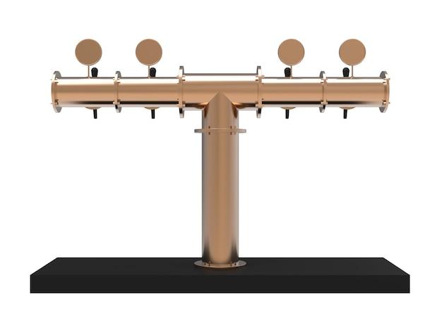 Équipement pour bar 3d illustration isolé sur fond blanc tour de pompe à bière en nickel métallique