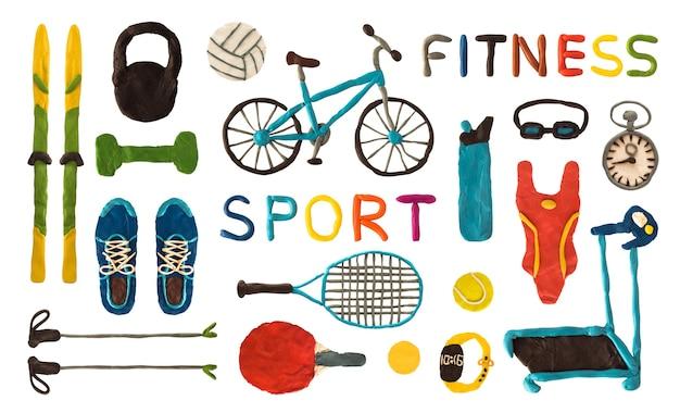 Équipement de sport et de fitness en pâte à modeler isolé sur fond blanc