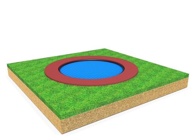 Équipement de trampoline circulaire réaliste 3d pour enfants isolé sur fond blanc