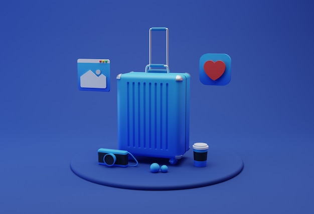 Équipement de voyage illustration 3d