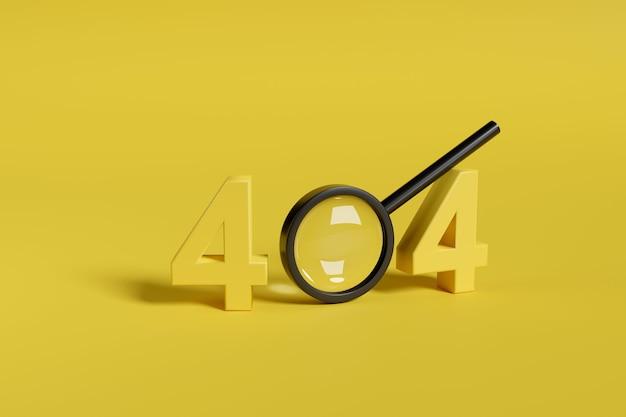 Erreur 404. numéro 404 en trois dimensions à côté d'une loupe de sécurité.