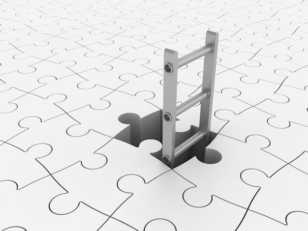 Escalier 3d sur fond de puzzle