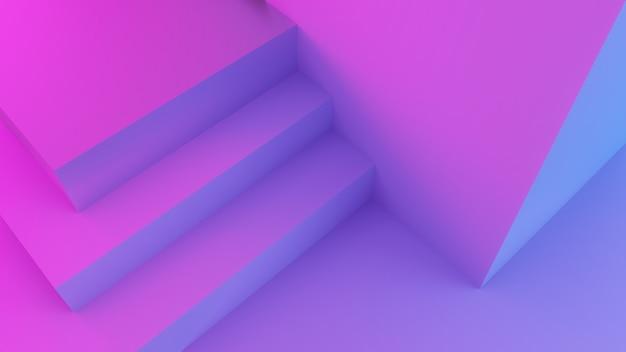 Escalier abstrait avec lumière rose, violette et bleue, rendu 3d