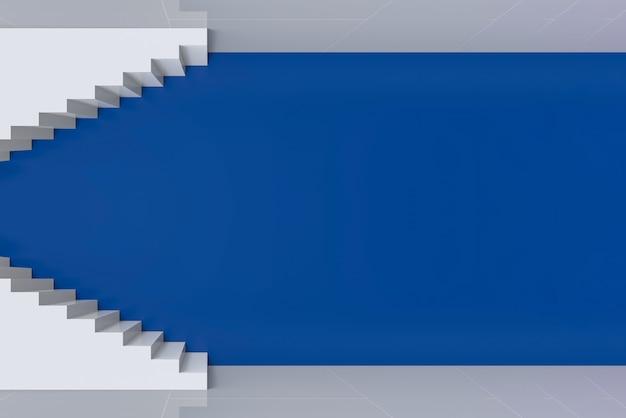 Escalier blanc art moderne de haut en bas sur fond de mur bleu.