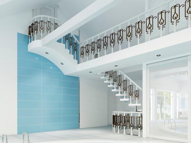 Escalier blanc avec rails forgés dans la piscine. rendu 3d.