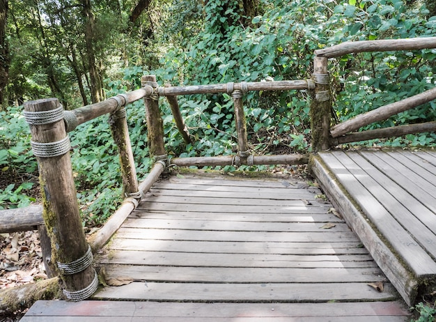 Escalier en bois avec le rail de journal.