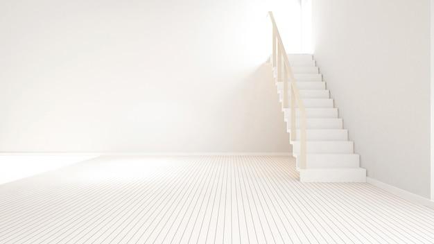 Escalier dans une salle vide pour les oeuvres d'art - rendu 3d