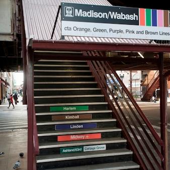 Escalier menant à la gare de chicago