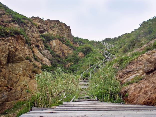 Escalier menant en montée, mer du japon, russie primorsky krai