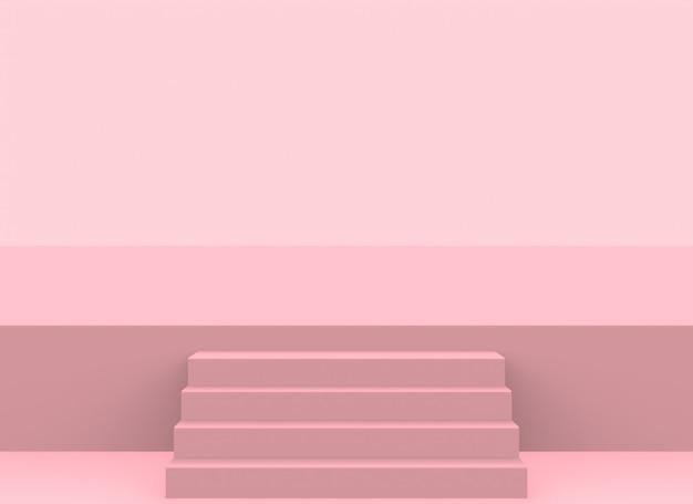 Escalier moderne de couleur rose tendre jusqu'au fond de la scène.