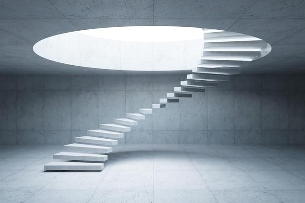 Escalier moderne à l'intérieur en béton, rendu 3d