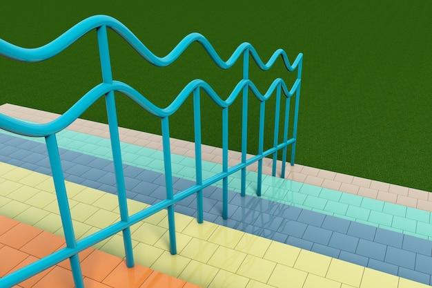 Escalier multicolore de plan rapproché extrême avec des balustrades