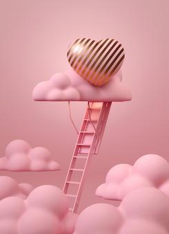 Escalier vers le nuage rose avec coeur rose et or
