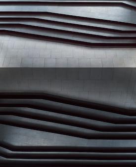 Escaliers abstraits en noir et blanc, étapes abstraites escaliers de style minimal dans la ville.