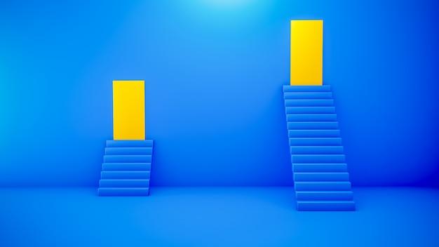 Escaliers bleus sur une surface bleue avec des portes jaunes