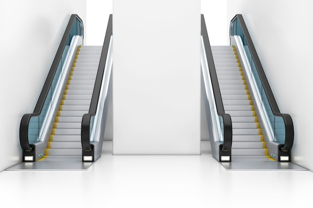 Escaliers mécaniques de luxe modernes sur le centre commercial de bâtiment d'intérieur, l'aéroport ou la station de métro gros plan extrême. rendu 3d