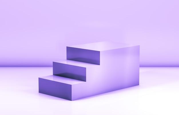 Escaliers de mode pour la présentation de produits cosmétiques. rendu 3d.