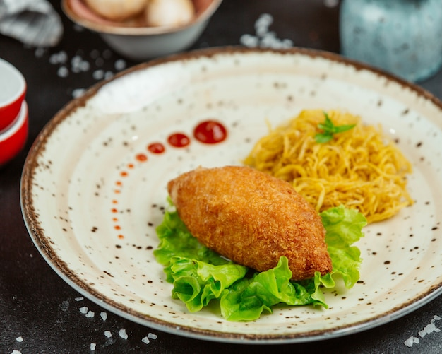 Escalope de poulet avec frites