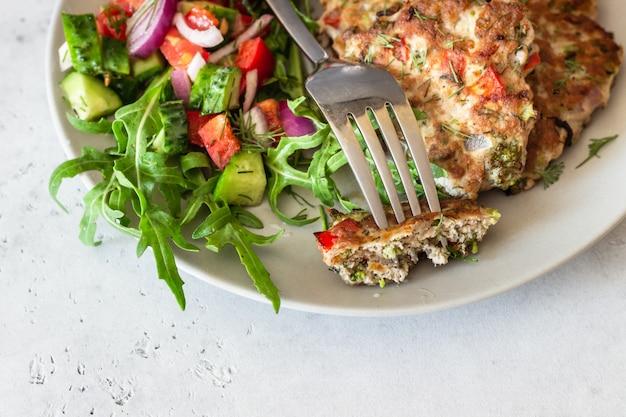 Escalopes de poulet ou de dinde avec légumes et sauce dans une assiette.