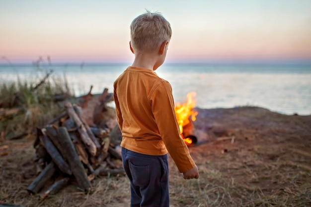Escapade familiale locale. kid rassemblant des bûches en bois pour feu de camp au camping, pendant la nuit dans la nature sauvage, mode de vie sain et actif, été en toute sécurité, concept d'emplacement de séjour