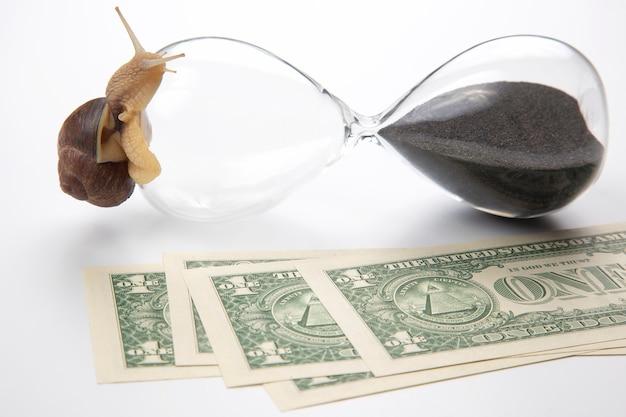 L'escargot rampe sur un sablier sur fond d'argent. rapidité et stabilité dans l'augmentation des revenus. temps de travail et de repos. réussite commerciale financière. objectif d'investissement en temps