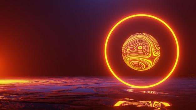 Espace abstrait, exploration de la surface de la planète, rendu 3d